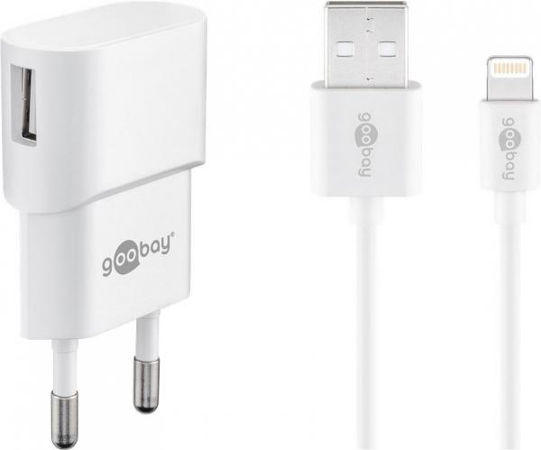Incarcator de retea USB cu cablu lightning 1A, alb Goobay 0