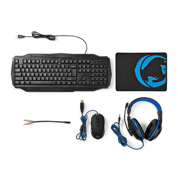 Kit Gaming cu fir 4-in-1 tastatura, casti, Mouse si Mouse Pad, Nedis 0