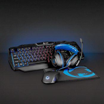 Kit Gaming cu fir 4-in-1 tastatura, casti, Mouse si Mouse Pad, Nedis 1