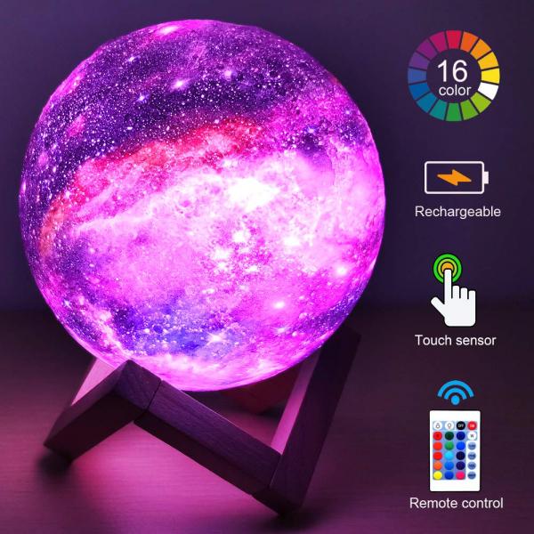 Lampa Galaxy 3D Luna 15 CM cu LED, 16 Culori cu Telecomanda si Suport Lemn, Mobilab 1