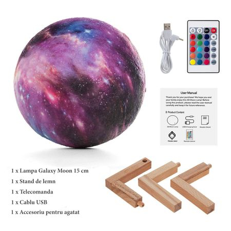 Lampa Galaxy 3D Luna 15 CM cu LED, 16 Culori cu Telecomanda si Suport Lemn, Mobilab 3