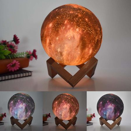 Lampa Galaxy 3D Luna 15 CM cu LED, 16 Culori cu Telecomanda si Suport Lemn, Mobilab 2