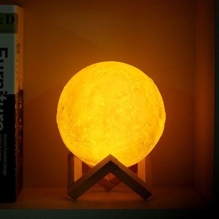 Lampa Luna 3D, Multicolora cu Telecomanda si Suport Lemn, 12 CM 1