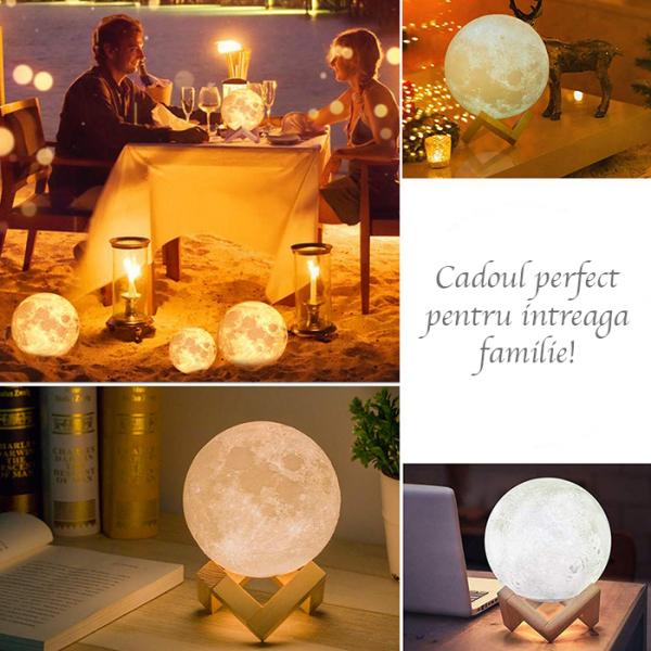 Lampa Luna 3D, Multicolora cu Telecomanda si Suport Lemn, 12 CM 2