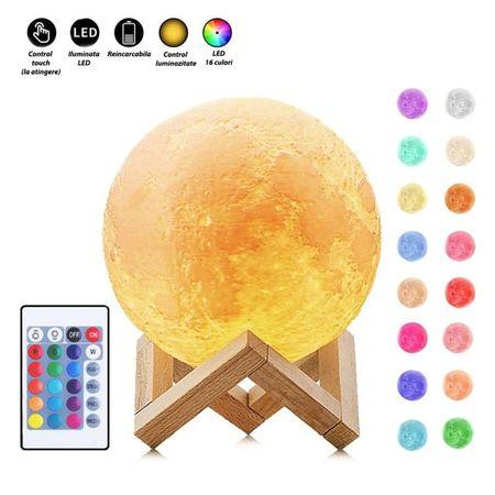 Lampa Luna 3D, Multicolora cu Telecomanda si Suport Lemn, 12 CM 0