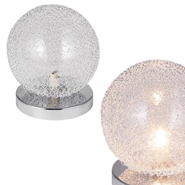 [lux.pro]® Veioza design Sphera, 16 x 14 cm, 1 x G9, max. 28W, aluminiu/sticla, crom argintiu 1