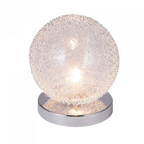 [lux.pro]® Veioza design Sphera, 16 x 14 cm, 1 x G9, max. 28W, aluminiu/sticla, crom argintiu 0