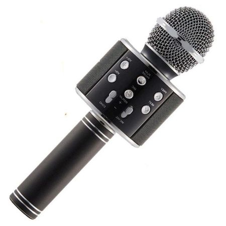 Microfon Wireless Profesional Karaoke Cu Difuzor Bluetooth, Negru 0