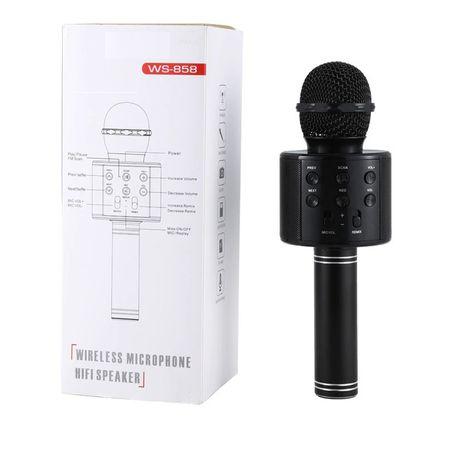 Microfon Wireless Profesional Karaoke Cu Difuzor Bluetooth, Negru 1