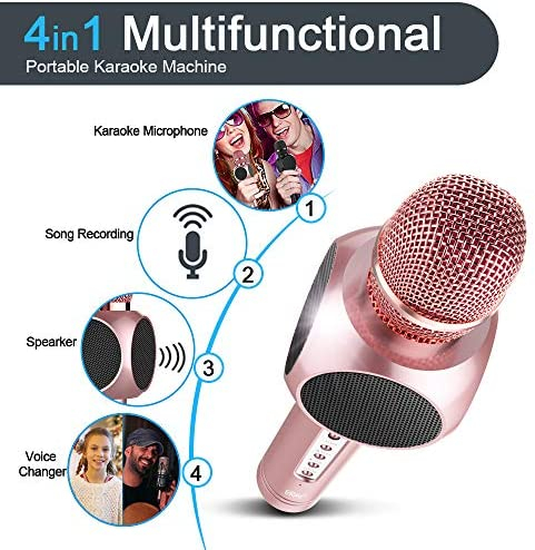 Microfon Wireless Profesional Karaoke Cu Difuzor Bluetooth, Roz 3