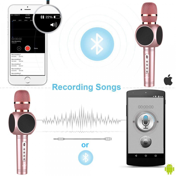 Microfon Wireless Profesional Karaoke Cu Difuzor Bluetooth, Roz 5