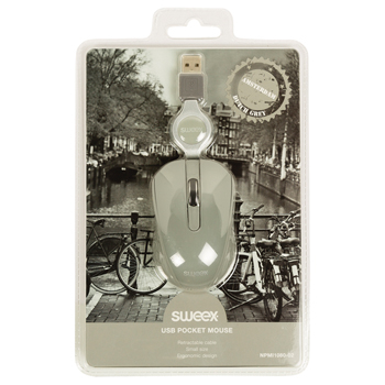 Mouse optic mini Amsterdam pe USB cu cablu retractabil gri, Sweex 4