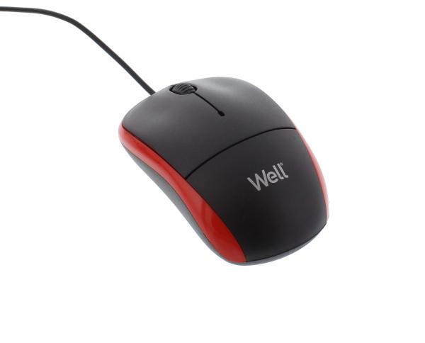 Mouse optic Well MU002 USB negru/rosu 0