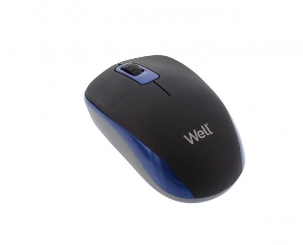 Mouse wireless Well MW102 negru/albastru 0