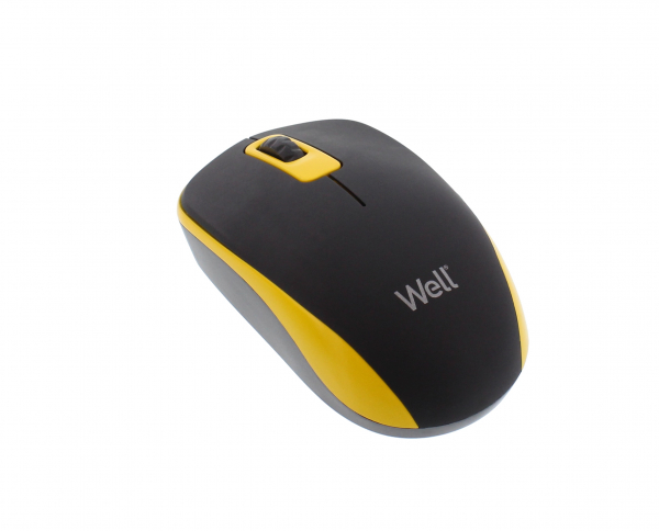Mouse wireless Well MW102 negru/galben 0