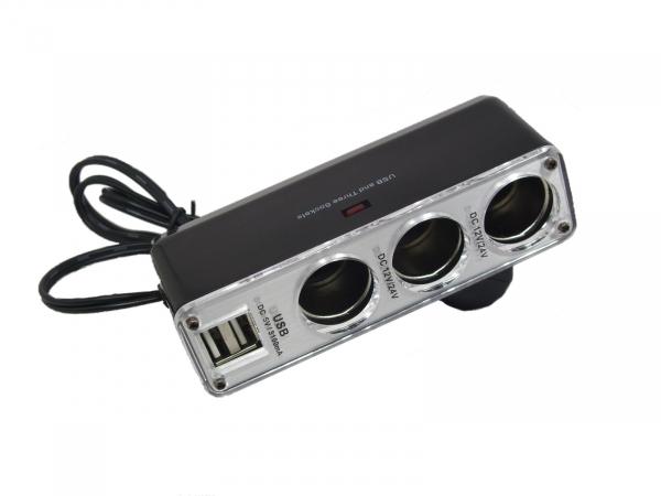 Multiplicator bricheta auto cu 3 iesiri si 2 iesiri USB 5V 2A 50W Well 0