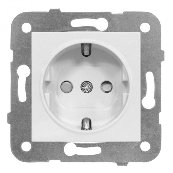 Priza simpla Schrack Visio50 EV101003 protectie copii incastrat alb conexiune elastica 0