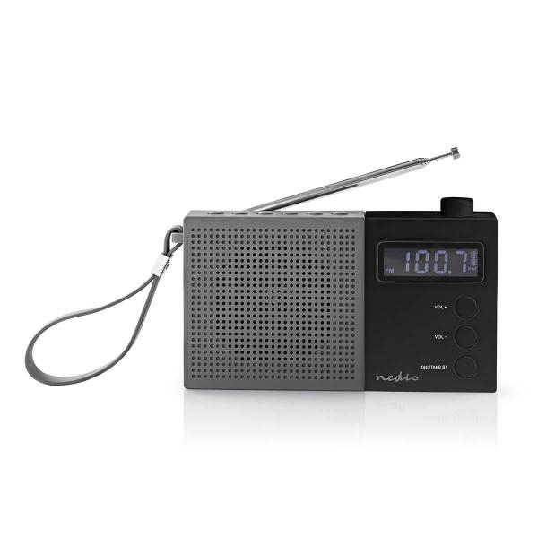 Radio FM cu ceas si alarma 2.1 W gri/negru Nedis 0