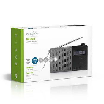 Radio FM cu ceas si alarma 2.1 W gri/negru Nedis 3