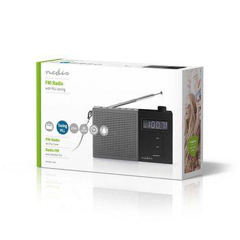 Radio FM cu ceas si alarma 2.1 W gri/negru Nedis 2