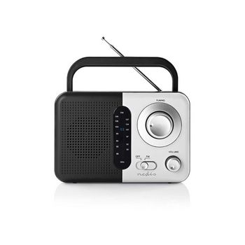 Radio portabil FM cu maner 2.4W negru/alb Nedis 0