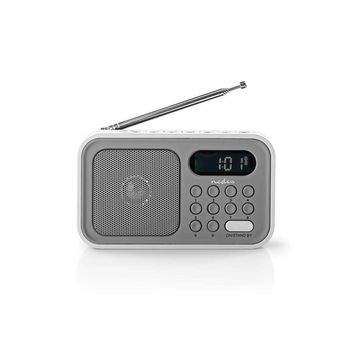 Radio portabil FM functie de ceas cu alarma 2.1W gri/alb, Nedis 0