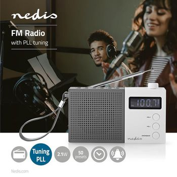 Radio portabil FM Functie de ceas cu alarma 2.1W gri/alb, Nedis 1