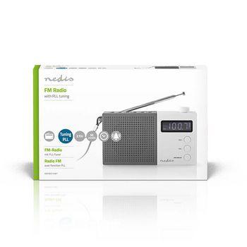 Radio portabil FM Functie de ceas cu alarma 2.1W gri/alb, Nedis 2