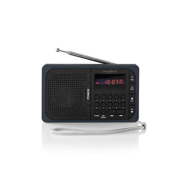 Radio portabil FM port USB si microSD 3.6W negru/gri, Nedis 0