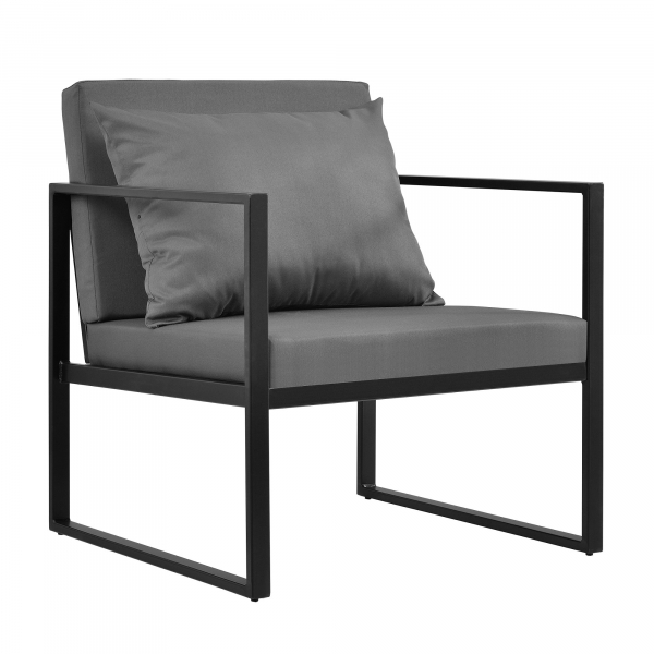 Set mobilier gradina, masa, 2 scaune, canapea, metal/sticla/poliester, negru/gri inchis [4]