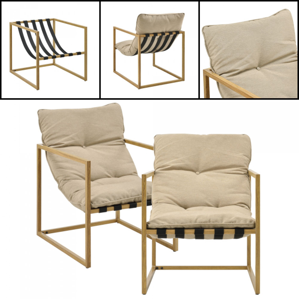 Set mobilier gradina Dallas, masa 40 x 91 x 50 cm, banca 65 x 125 x 75 cm, fotoliu 65 x 64 x 75cm, otel/textil, bej [casa.pro]® 4