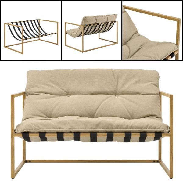 Set mobilier gradina Dallas, masa 40 x 91 x 50 cm, banca 65 x 125 x 75 cm, fotoliu 65 x 64 x 75cm, otel/textil, bej [casa.pro]® 6