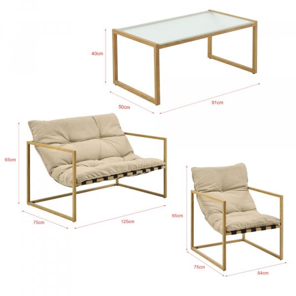 Set mobilier gradina Dallas, masa 40 x 91 x 50 cm, banca 65 x 125 x 75 cm, fotoliu 65 x 64 x 75cm, otel/textil, bej [casa.pro]® 5