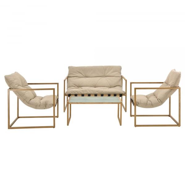 Set mobilier gradina Dallas, masa 40 x 91 x 50 cm, banca 65 x 125 x 75 cm, fotoliu 65 x 64 x 75cm, otel/textil, bej [casa.pro]® 3