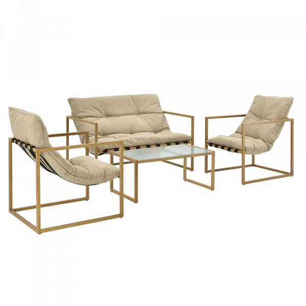 Set mobilier gradina Dallas, masa 40 x 91 x 50 cm, banca 65 x 125 x 75 cm, fotoliu 65 x 64 x 75cm, otel/textil, bej [casa.pro]® 0