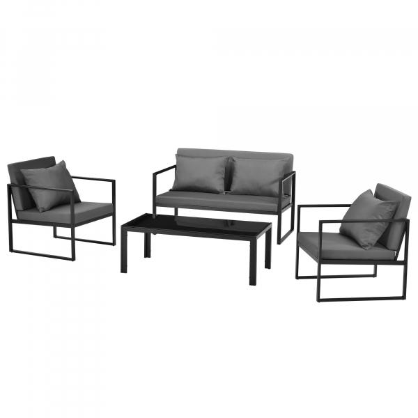 Set mobilier gradina, masa, 2 scaune, canapea, metal/sticla/poliester, negru/gri inchis [0]