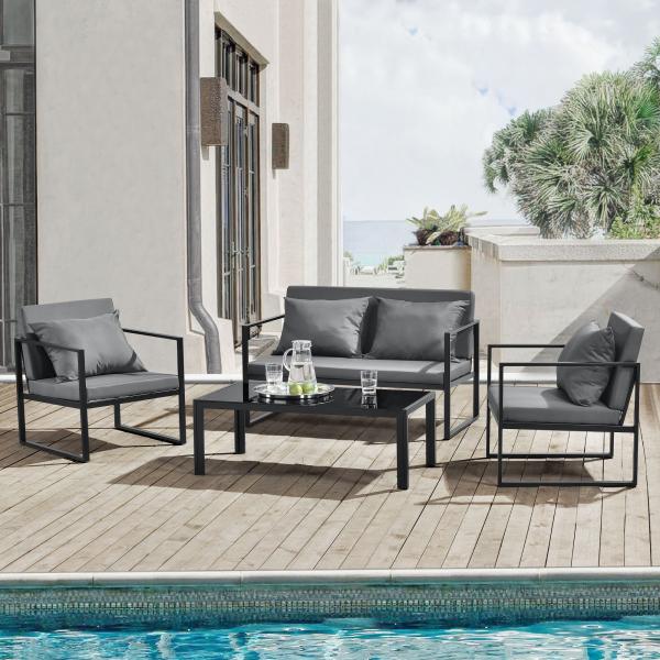 Set mobilier gradina, masa, 2 scaune, canapea, metal/sticla/poliester, negru/gri inchis [1]