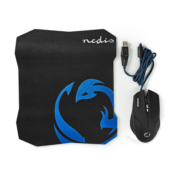 Set Mouse Gaming cu fir & Mouse Pad, 1600 DPI, 6 butoane, Nedis 0