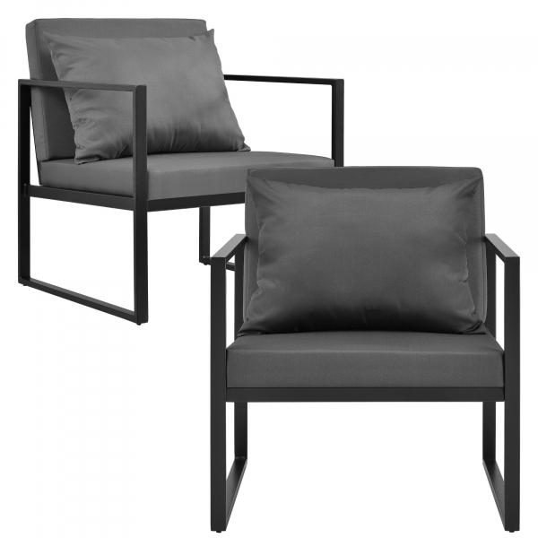 Set mobilier gradina, masa, 2 scaune, canapea, metal/sticla/poliester, negru/gri inchis [5]