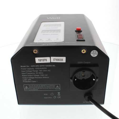 Stabilizator automat de tensiune cu servo motor montabil pe perete, 1000VA, negru, Well [1]
