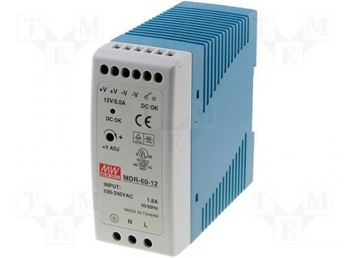 Sursa in comutatie AC-DC pe sina DIN 60W 12V 5A MDR-60-12 MeanWell [0]