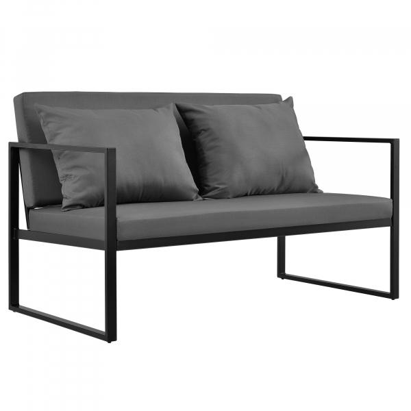 Set mobilier gradina, masa, 2 scaune, canapea, metal/sticla/poliester, negru/gri inchis [6]