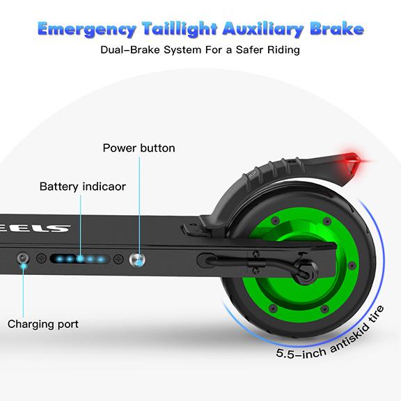 Trotineta Electrica MegaWheels S1 Pentru Copii Negru/Verde 2