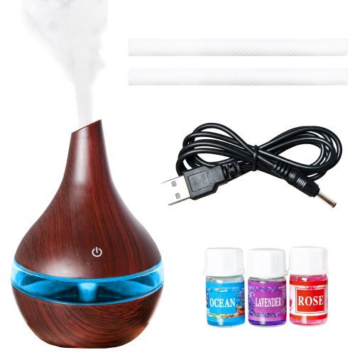 Umidificator de camera cu aer rece, difuzor uleiuri esentiale, aromaterapie,ultrasunete, 300 ml, Maro inchis 6
