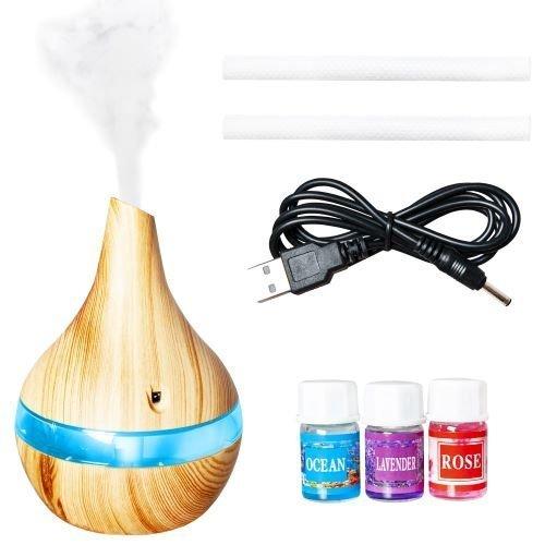 Umidificator de camera cu aer rece, difuzor uleiuri esentiale, aromaterapie,ultrasunete, 300 ml, Stejar 7