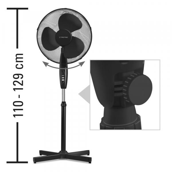 Ventilator Cu Picior Si Telecomanda, Diametru 43 Cm, Negru 1