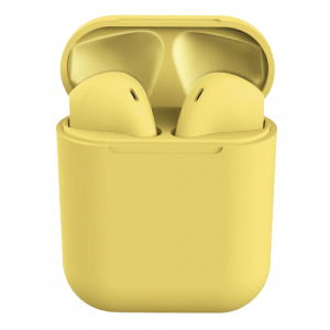 Casti Wireless Stereo inPods12 Galben Fara Fir Compatibile cu Apple si Android0