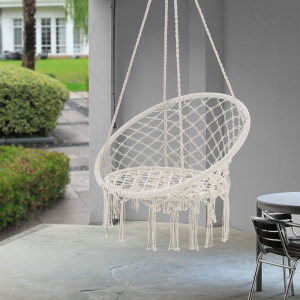 Hamac scaun ABLS-6003, 140 cm, otel/bumbac/poliester, crem1