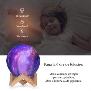 Lampa Galaxy 3D Luna 15 CM cu LED, 16 Culori cu Telecomanda si Suport Lemn, Mobilab7