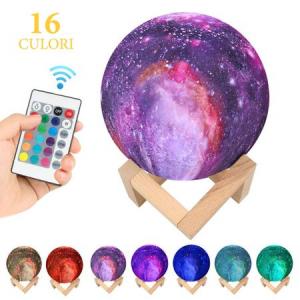 Lampa Galaxy 3D Luna 15 CM cu LED, 16 Culori cu Telecomanda si Suport Lemn, Mobilab4
